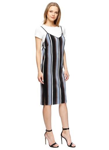Missguided Yarım Kol Çizgili Diz Boyu Elbise Renkli